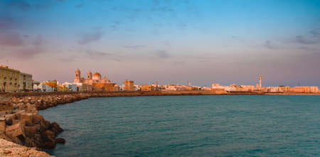 Spain, Cadiz panorama at sunset, the beautiful old city of Andalusia with a view of the cathedral