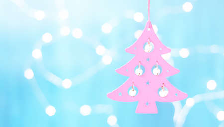 Christmas card with Christmas decorations on sparkling blue background Stock Photo