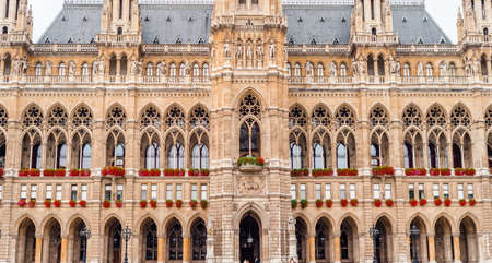 Viena, City hall. Austria, fragments of the refined architecture of Austria Stok Fotoğraf
