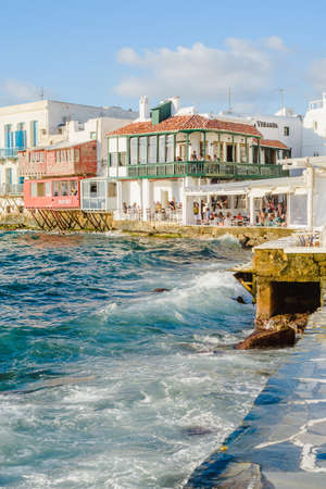 Little Venice at sunset and storm, Mykonos, Greece - October 6, 2018