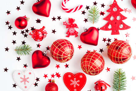 Christmas decoration collection: hearts, branches, Christmas candy, Christmas tree, balls, angel, bell Stock Photo