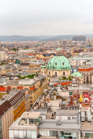 Vienna city panorama view from St. Stephan's cathedral Austria