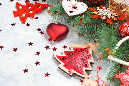 Christmas decoration collection: hearts, branches, Christmas candy, Christmas tree balls angel bell Stock Photo