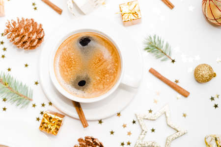 A cup of hot coffee on a christmas holiday table. holidays and events Stock Photo