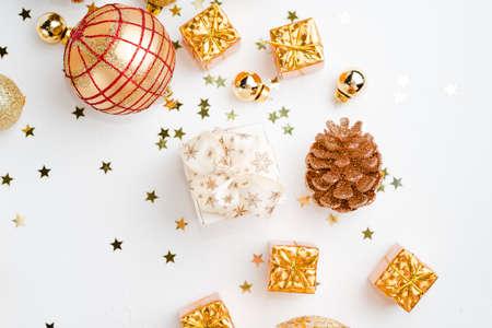 Christmas composition. Christmas golden decorations