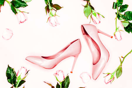 Pale pink female shoes on white