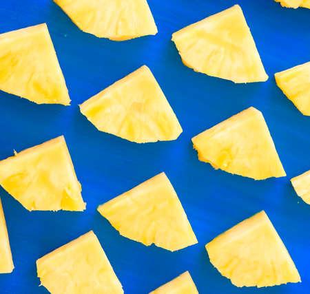 Pattern of Sweet pineapple on blue Stock Photo