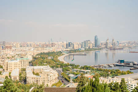 Baku aerial panoramic view from the Martyrs Lane viewpoint