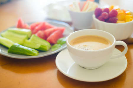 Breakfast with coffee, vegetables and fruits Stock Photo