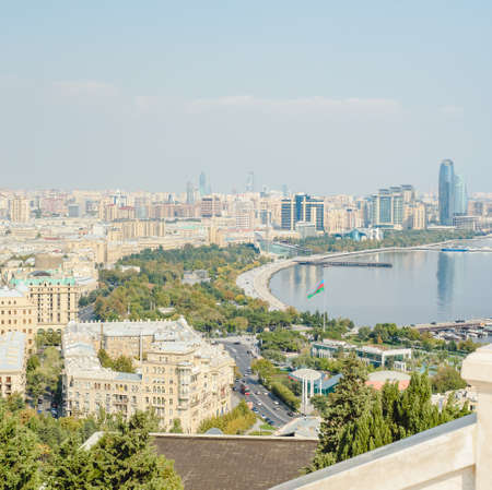 Baku aerial panoramic view from the Martyrs Lane viewpoint, which located in the center of Baku, Azerbaijan Stock Photo