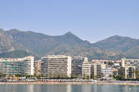 Panorama of Puerto Banus, Marbella, Spain showing luxury yachts and motor cruisers of the rich and famous moored in the Port