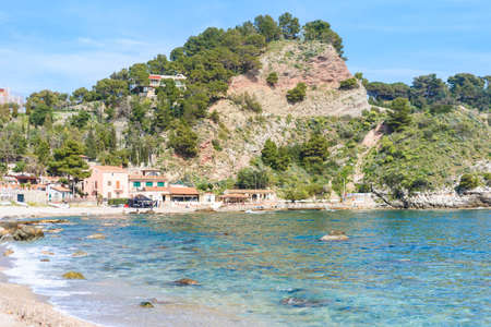 View of Isola Bella beach in Taormina, Sicily, Italy