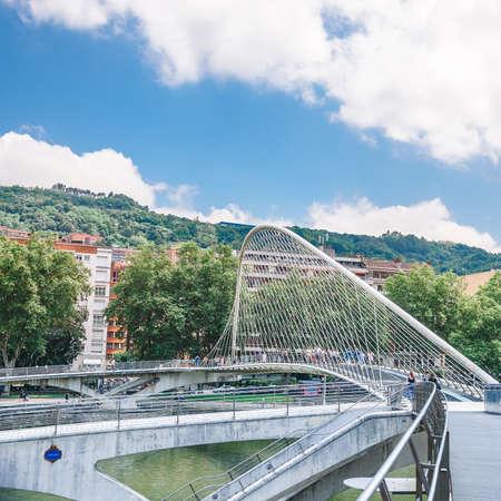 The Pedro Arrupe footbridge in Bilbao, Basque Country, Spain.