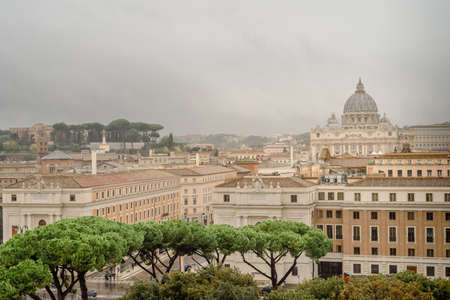 Rome, Italy, Panorama of Rome and view at St. Peters Basilica, Vatican, from Angel Castle