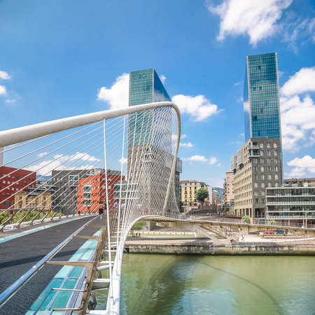 Colorful and modern Bilbao Bridge, Basque Country, Spain.
