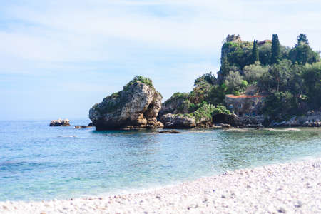 View of Isola Bella in Taormina, Sicily, Italy