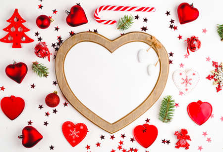 Flat lay Christmas composition with heart Banco de Imagens
