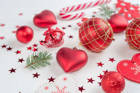 Christmas decoration collection: hearts, branches, Christmas candy, Christmas tree balls angel bell Reklamní fotografie