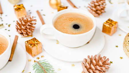 cup of hot coffee on a christmas holiday table. holidays and events Stock Photo