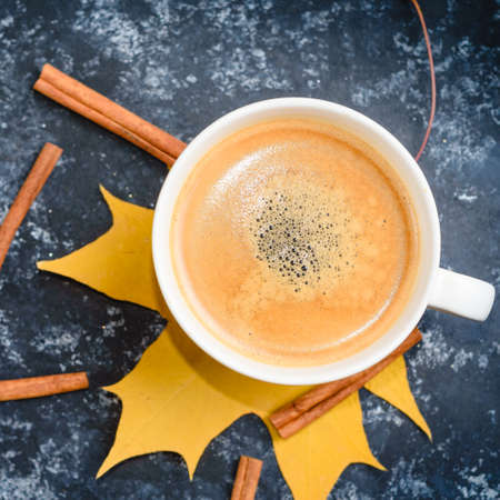 Autumn coffee composition, coffee cup with foam, cinnamon, autumn leaf at black background. Standard-Bild