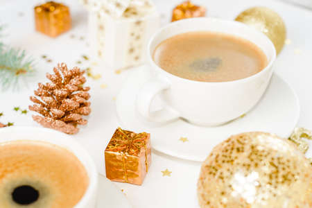 cup of hot coffee on a christmas holiday table. holidays and events Stockfoto