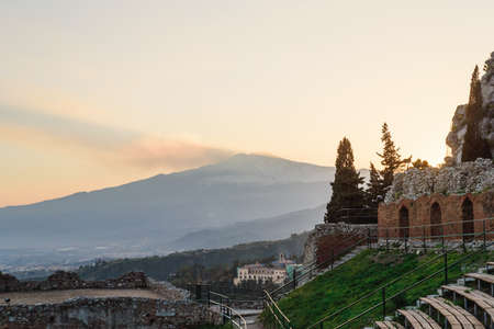 Scenic view of Etna Mount from Taormina, Sicily, Italy, Europe. Stock Photo