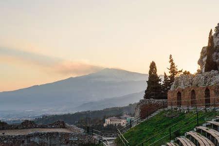 Scenic view of Etna Mount from Taormina, Sicily, Italy, Europe. Zdjęcie Seryjne