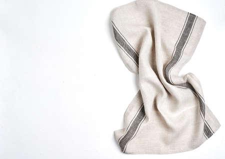 kitchen cloth napkin on white background, copy space