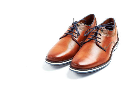 male brown leather shoes isolated on a white, top view 版權商用圖片 - 129996265
