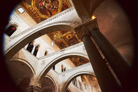 Bari, Puglia, Italy - April 30, 2019: Inside interior of Basilica of Saint Nicholas Basilica di San Nicola , a church in Bari. Roman Catholic Church in region of Apulia Editorial