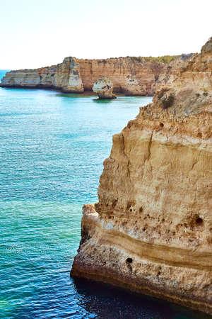 Rocks and sandy beach in Portugal, Lagos, Algarve Stock fotó