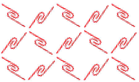 Christmas candy cane pattern on blue white background. Flat lay