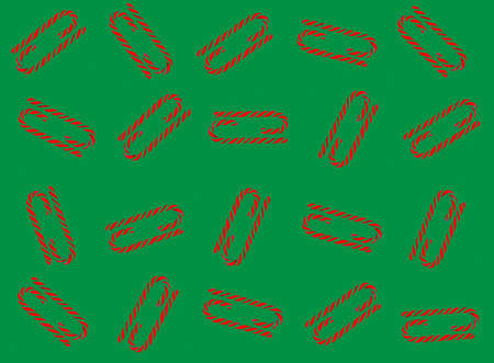 Christmas candy cane pattern on green white background. Flat lay