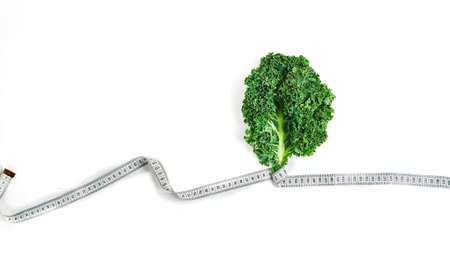 leaf of healthy kale salad on a white background, super food