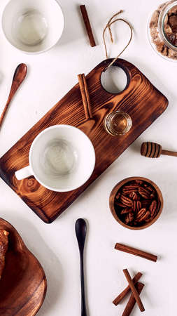 breakfast pattern, croissant, coffee, honey, cinnamon sticks, nuts sugar Good morning concept wake up