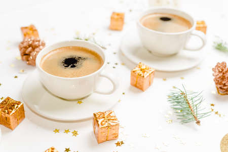 coffee on christmas table with christmas decorations