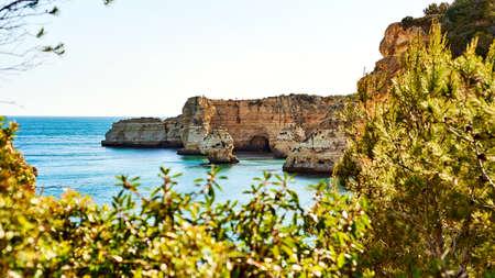 Rocks and sandy beach in Portugal, Atlantic coast. Stok Fotoğraf