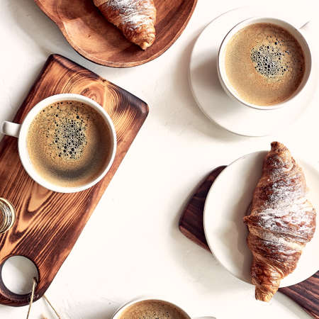 European breakfast, top view, coffee, croissants honey good morning concept Stok Fotoğraf