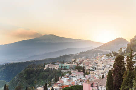 Scenic view of Etna Mount from Taormina, Sicily, Italy, Europe. Stok Fotoğraf