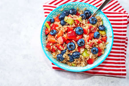 Healthy Homemade Oatmeal with Berries for Breakfast