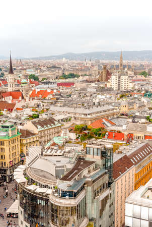 Vienna city panorama view from St. Stephans cathedral Stok Fotoğraf