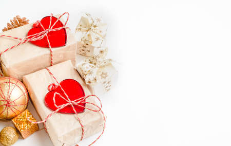 Christmas holiday background with gift boxes. Top view from above on white background
