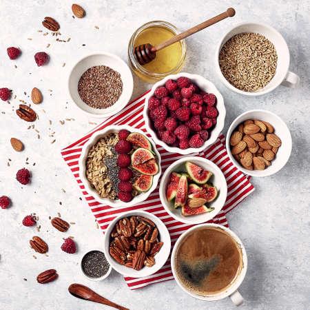 Healthy breakfast, top view. Stock fotó - 133830535