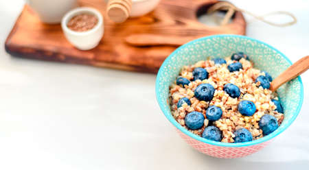 Buckwheat porridge with fruits and honey Stock fotó - 133830539