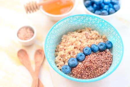 Buckwheat porridge with fruits and honey Stock fotó
