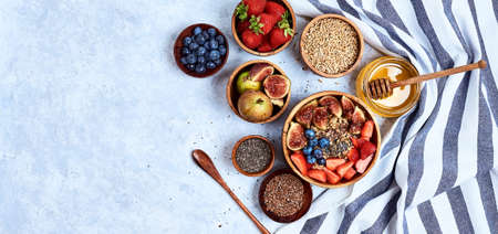 Healthy Homemade Oatmeal with Berries for Breakfast Stock fotó - 133831194