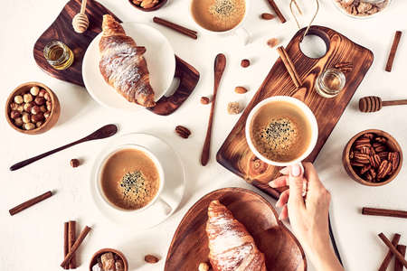 French breakfast, coffee and croissant, top view Stock fotó - 133831681