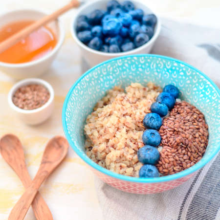 Buckwheat porridge with fruits and honey 写真素材