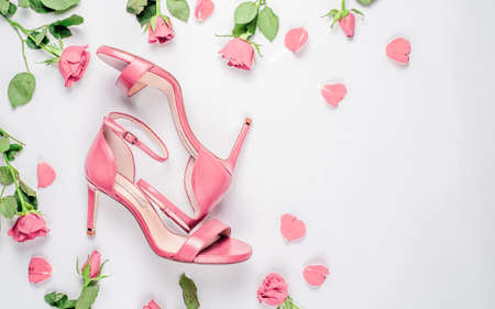 Coral woman shoes on white Stock fotó - 133832261