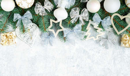 Christmas Border  tree branches with golden decor isolated on white, horizontal banner Stock fotó - 133832262